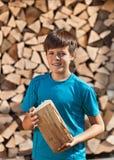 堆积木柴的男孩 免版税图库摄影