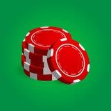 堆红色啤牌赌博娱乐场芯片的例证 免版税库存照片