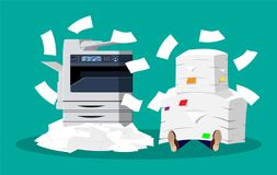 堆纸张文件和打印机 皇族释放例证