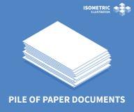 堆纸张文件象 网络设计的等量模板在平的3D样式 也corel凹道例证向量 库存例证