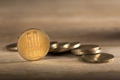 堆罗马尼亚硬币 库存照片