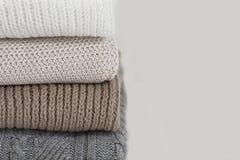 堆羊毛毛线衣 免版税库存图片