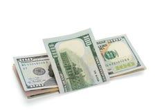 堆美元钞票,隔绝在白色 免版税图库摄影