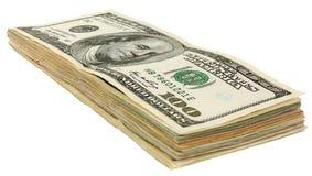 堆美元banknotes_100 免版税库存照片