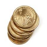 堆美国人一美元硬币 库存图片