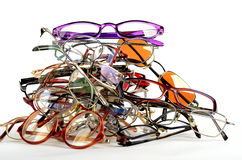 堆使用的眼镜 库存照片