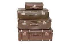 堆老手提箱 免版税库存照片