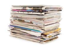 堆老报纸和杂志 免版税库存照片