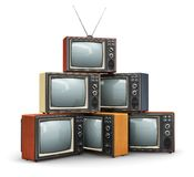堆老电视 库存例证