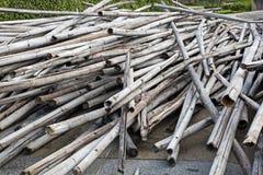堆老竹子 免版税库存图片