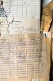 堆老纸张文件在档案里 免版税图库摄影