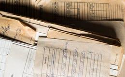 堆老纸张文件在档案里 免版税库存图片