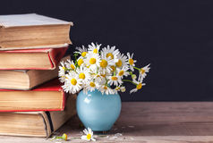 堆老葡萄酒预定说谎在与雏菊花束的一个木架子在一个蓝色花瓶的 仍然乡下生活 库存照片