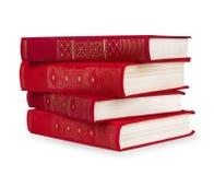 堆葡萄酒红色书 免版税图库摄影