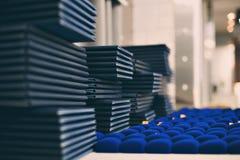 堆蓝皮书,脏的背景,在木架子的赠送阅本空间葡萄酒老精装书甲板桌,不 库存照片