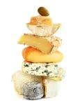 堆被分类的乳酪 免版税库存照片