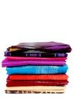 堆被编织的丝绸布裙bugis印度尼西亚 免版税库存照片
