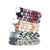 堆被编织的温暖的袜子 免版税库存照片