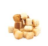 堆被隔绝的大蒜油煎方型小面包片 库存照片