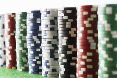 堆赌博的芯片 库存图片