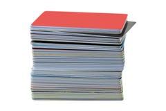 堆软的焦点塑料ID卡片,信用推车,购物的加州 库存照片
