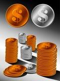 堆金和银币 免版税库存图片