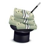 堆金钱和魔术帽子 图库摄影