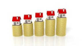 堆金黄硬币和房子象图表 免版税库存照片