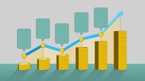 堆金黄硬币表达的成长赢利,并且增加infographic箱子 2 向量例证