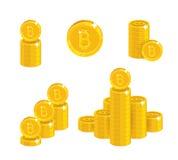 堆金bitcoins被隔绝的动画片集合 免版税图库摄影