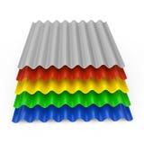 堆钢屋顶的颜色金属锌被镀锌的波浪板料 皇族释放例证