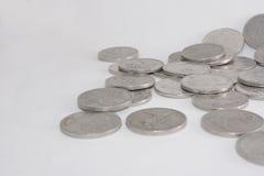 堆银色澳大利亚人二十分货币硬币 图库摄影
