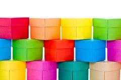 堆颜色盒 免版税库存照片