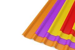 堆颜色金属锌镀锌了屋顶的波浪板料 3d?? 向量例证