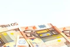 堆50张欧洲金钱钞票,企业概念,白色背景 免版税库存图片