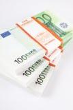 堆100张欧洲票据 免版税库存图片