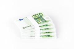 堆100张欧洲钞票 免版税库存图片