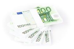堆100张欧洲钞票 库存图片