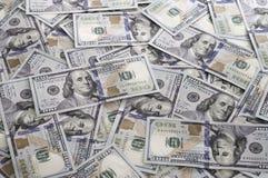 堆$100张票据美国 免版税库存照片