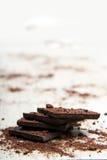 堆黑暗的巧克力 库存照片