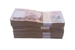 堆1000浴泰国金钱:泰国货币1000巴恩,禁令 免版税库存照片