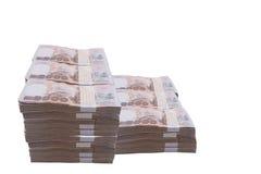 堆1000浴泰国金钱:泰国货币1000巴恩,禁令 免版税库存图片
