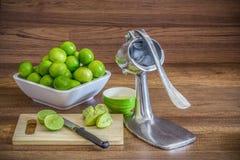 堆绿色柠檬用铝手工榨汁器剥削者果子 免版税库存照片