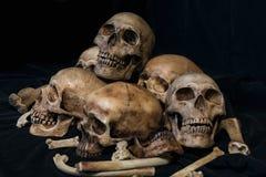 堆头骨和骨头在黑织品 免版税库存图片