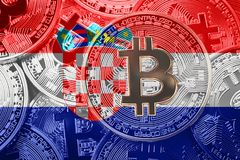 堆Bitcoin克罗地亚旗子 Bitcoin cryptocurrencies概念 图库摄影