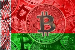 堆Bitcoin白俄罗斯旗子 Bitcoin cryptocurrencies概念 免版税库存图片