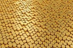 堆bitcoin, 3D例证 免版税库存照片