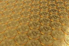 堆bitcoin, 3D例证 库存图片