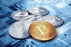 堆cryptocurrencies :一起bitcoin、ethereum、litecoin、monero、破折号和波纹硬币, 3D翻译 免版税库存照片