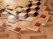 堆ofr木条地板木板条 木木条地板coa的少量类型 库存图片